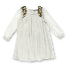 Coming mid april robe mousseline de soie manches longues épaules perlées - lt grey - Boutique Dino et Lucia