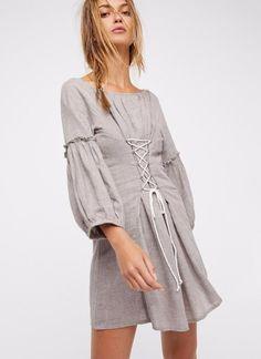 Draped Lace-up Boho Dress