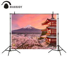 Allenjoy photo background Japanese style backdrop Mount Fuji Chureito Pagoda flowers sunset Natural Scenery photo booth