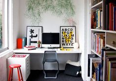 home office ideas - white office with pops of primary colours. Office Nook, Cool Office, Home Office Space, Home Office Design, House Design, Small Office, Office Ideas, Desk Nook, Corner Office