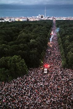 Aerial view of Love Parade Festival, Berlin. YESSSS. been dying to go to this @Leah Karkoska