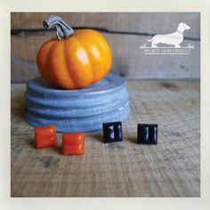Pumpkin Spice Glass Tile Post Earrings  by PickleDogDesign on Etsy, $8.00
