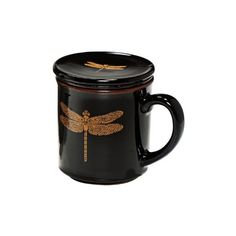 Black Dragonfly Infuser Mug ($17) ❤ liked on Polyvore
