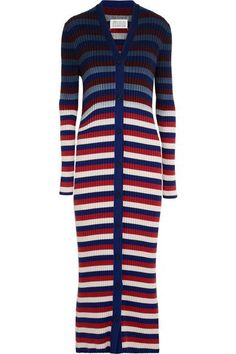 Maison Margiela - Striped Ribbed Cotton Cardigan - Red