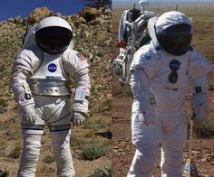 Future Spacesuits NASA is currently developing its next-generation spacesuits, intended for journeys to an asteroid, Mars, or back to the moon. The Mark III spacesuit (left image) is a rear-entry suit like the Russian Orlan suit, with a hard upper torso made from graphite/epoxy composite elements and soft fabric joints at the knees and elbows. the I-Suit (right image) is an all-soft suit that uses lightweight titanium to achieve a total weight slightly more than half of current spacesuits.