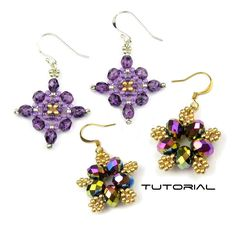 Two Crystal Earring Tutorials, Beading Patterns, Beadweaving Instructions: Starlet & Moonflowers