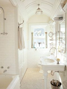 40 Stunning French Country Small Bathroom 41 White French Country Bathroom Designs Home Interior Design French Bathroom Design Ideas Tsc 8 Half Bathroom Decor, Eclectic Bathroom, Narrow Bathroom, Bathroom Styling, Bathroom Ideas, Small Bathrooms, Bathroom Renovations, White Bathrooms, Bathroom Rugs