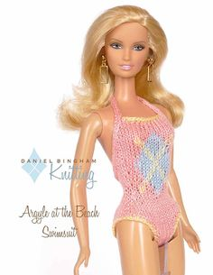 "Knitting pattern for 11 1/2"" doll (Barbie): Argyle at the Beach Swimsuit"