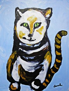 A Cat For Lynne Painting  - A Cat For Lynne Fine Art Print by Sarah Loft