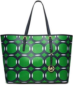 Women's Top-Handle Handbags - Michael Kors Jet Set Deco Medium Travel Tote  Saffiano Leather in Palm Green Navy  White >>> Continue to the product at the image link.