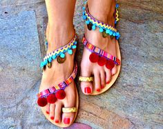Handmade Sandals Greek Leather Sandals Pom Pom by DimitrasWorkshop