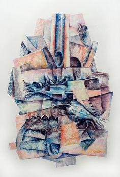 """"""" Tensiones"""" - Heriberto Zorrilla - Pastel sobre papel – 89 x 69 cm  – 1981 www.esencialismo.com"""