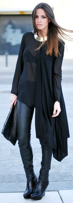 streetstyle all black outfit Cute Fashion, Look Fashion, Fashion Beauty, Womens Fashion, Street Fashion, Beauty Style, Ladies Fashion, Fashion Models, Moda Barcelona