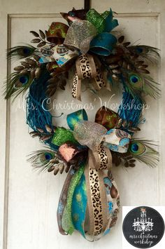 Christmas wreath grapevine wreath peacock by MrsChristmasWorkshop