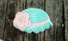 Newborn Babygirl Flower Beanie by HeartofCrochet on Etsy