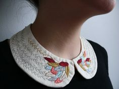 Grey, apricot, beige and burgundy feathers embroidered collar by CasaTiendadeAmeliaB on Etsy