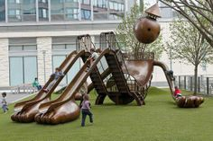 Silver playground in New York by Tom Otterness