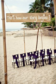 "Such a cute little sign to put at the entrance of the wedding! ""This is how our story begins""<3"