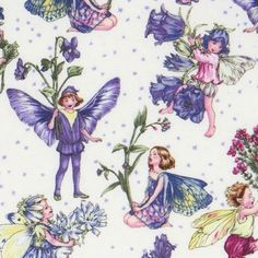 Michael Miller fabric Petite Fairies flower fairy  cute white fabric with flower fairies and blue flowers from the USA