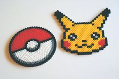 2 Piece Pokemon Pikachu & Pokeball Coaster Set by popthatcassette, $15.00