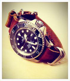 Rolex deep sea with vintage leather Zulu strap