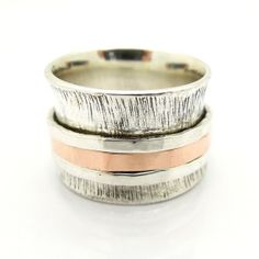 Wide & curvy silver and rose gold spinner ring