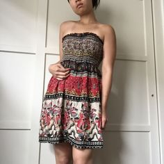 Urban Renewal Bohemian Strapless Dress Gorgeous textile, super lightweight strapless dress with stretchy top. Urban Outfitters Renewal line. Perfect for summer!!! Urban Outfitters Dresses