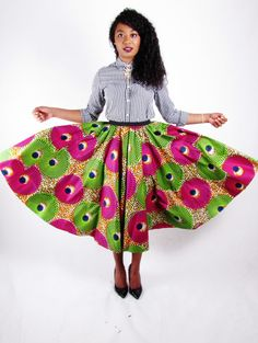 African Print Skirt-The Full Circle Mid-Length by tribalgroove