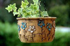 závěsný květináč-modrobílé kvítky-na objednávku!!!