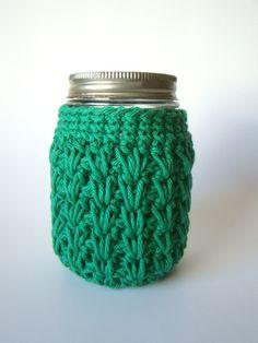 Green Small Mason Jar cozy Crochet jar sleeve by HookMadness, $8.00