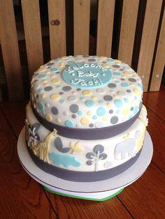 """Gray Zoology"" Baby Shower Cake"