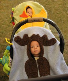 Moose Baby Car Seat Cover... What a cute idea for infants -- will have to remember this for grandkids since there are NO babies here any more!! ;)