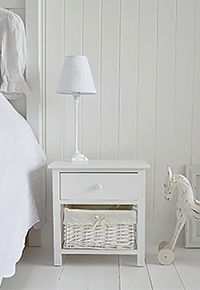 New Haven small white bedside table with basket drawer and top draw. A low  bedside