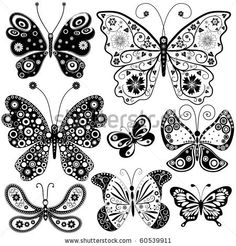 Collection black and white butterflies for design isolated on white (vector), average color #8B8589 - Taupe gray