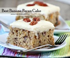 Best Banana Pecan Cake - Manila Spoon This is simply the best banana pecan cake! Freshly squeezed lemon juice and zest lend fruity flavor while pecans add crunch to this moist and delicious cake. The cream cheese frosting brings this over the top! Banana Recipes, Cake Recipes, Dessert Recipes, Poblano, Pecan Cake, Baked Banana, Banana Bread, Sugar Cake, Savoury Cake