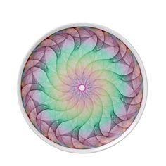 Fractal Aqua Pink Plates
