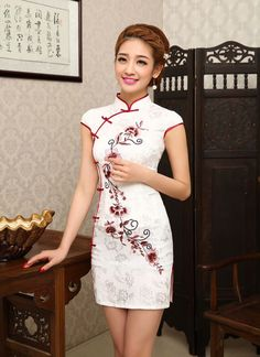 Traditional Womens Chinese Embroidery Cheongsam Dress Short Evening Party Qipao