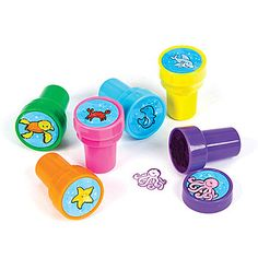 Sea Life Stamper Set features an assortment of brightly colored sea creatures on vibrant colored stampers. Each set of sea creature stampers is made of plastic. Sea Activities, Classroom Activities, Rhode Island Novelty, Stamp Pad, Party Kit, Sea And Ocean, Party Items, Ocean Life, Sea Creatures