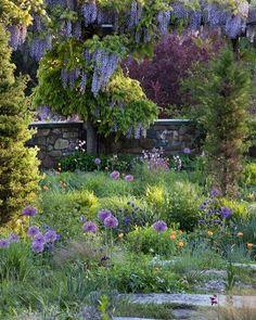 Gravel path garden in Pennsylvania.