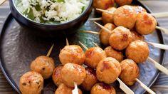 Brochettes de boulettes de poulet à la japonaise