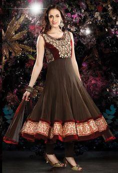 $137.08 Brown Zardosi Work Net Anarkali Salwar Kameez 26410