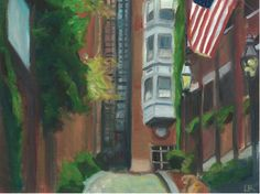 Acorn Street #BeaconHill  Part of Set One of Boston in a Box! 10% of sales go to the One Fund 12 different painted scenes of Boston Turned into note cards
