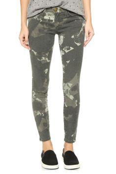 Current/Elliott's classic stiletto jean in a great army green water-colour camo print.   Camo Stiletto Jeans by Current/Elliott. Clothing - Bottoms - Jeans & Denim - Skinny Canada