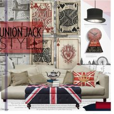 Union Jack Style by filletrange on Polyvore featuring interior, interiors, interior design, home, home decor, interior decorating, Innermost, Universal Lighting and Decor, Andrew Martin and Newgate