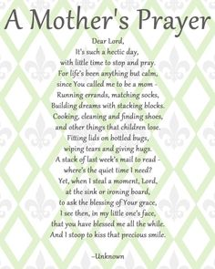 A Mothers Prayer, LOVE LOVE LOVE this