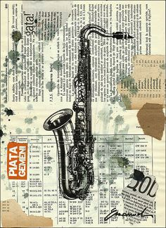 ART PRINT Reproduction Painting Saxophone Jazz  Gift by rcolo, $10.00