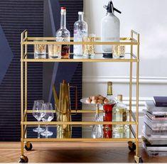 west elm Terrace Bar Cart, Antique Brass at John Lewis & Partners Brass Bar Cart, Gold Bar Cart, Home Staging Tips, Bar Cart Decor, Drinks Cabinet, Cool Bars, Display Shelves, Dining Room Furniture, Decorating Your Home