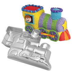 Choo-Choo Train Cake Pan Set. Here's a little 3-D engine with a trainload of uses. Two-piece pan snaps together to create a cake 10 x 6 x 4 in. deep.