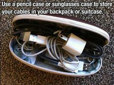 52 Cleaning and Life Hacks - Use a pencil case or sunglasses case to store your cables in your backpack or suitcase. Vacation Packing, Packing Tips For Travel, Travel Essentials, Travel Hacks, Travel Ideas, Packing Hacks, Travel Advice, Packing Lists, Suitcase Packing Tips