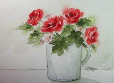 Red Roses Original Watercolor Painting Floral